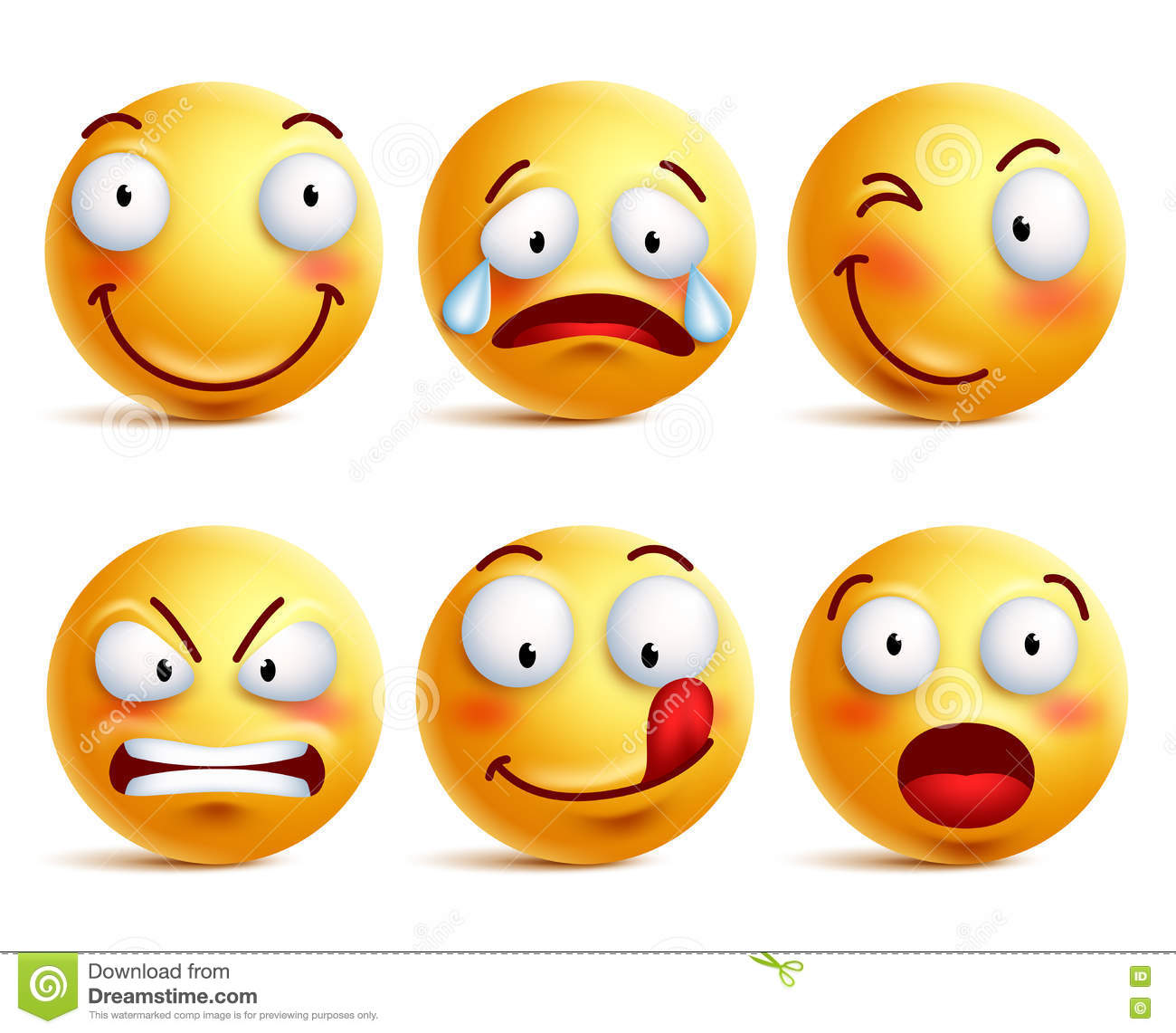 Set of smiley face icons or yellow emoticons with different facial expressions