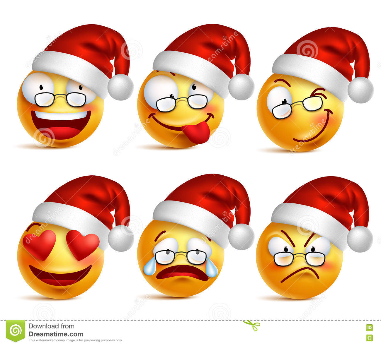 Set of Smiley face of santa claus yellow emoticons with facial expressions and christmas hat