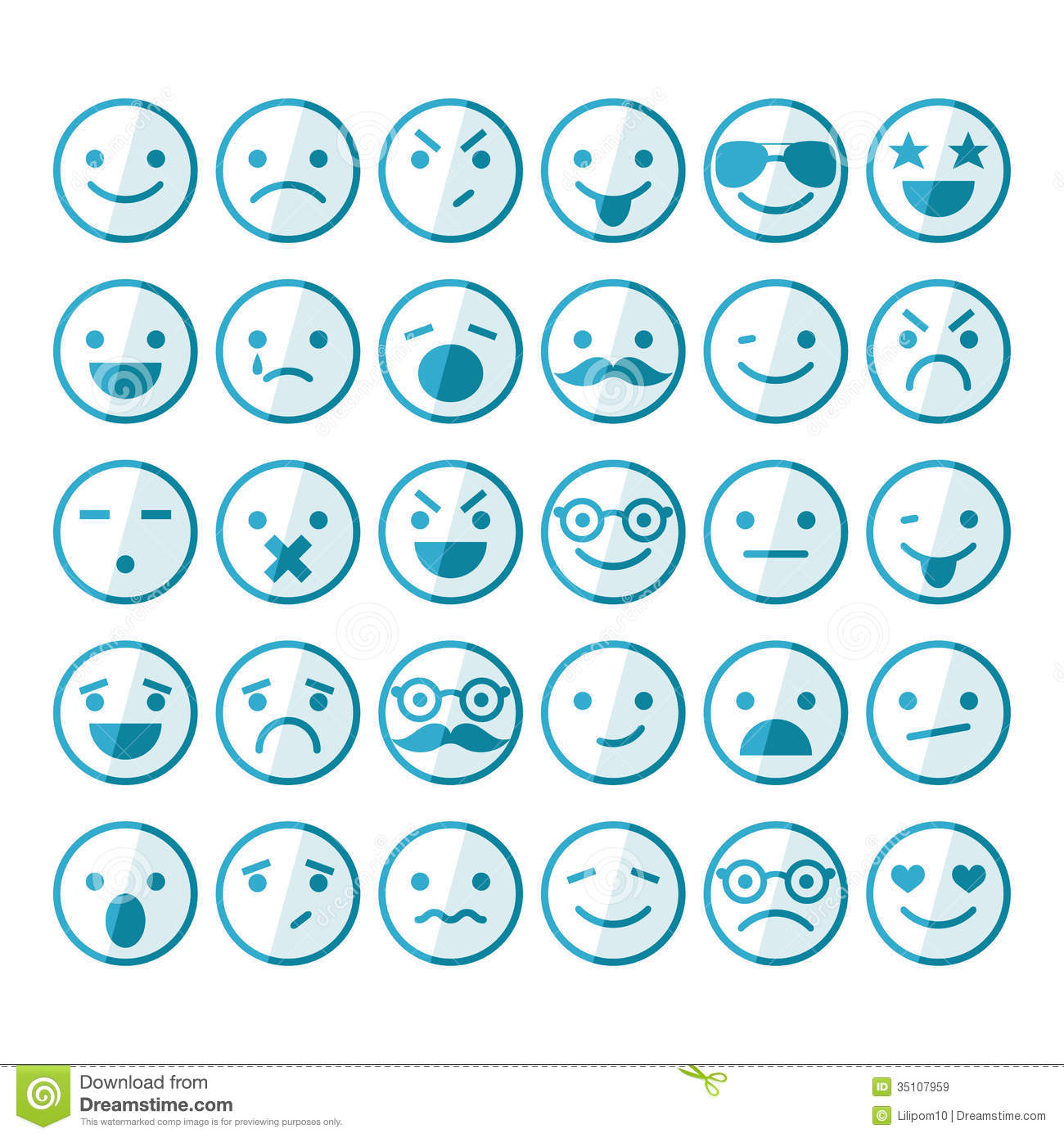 Free Stock Images: Set of smileys in different emotions ...