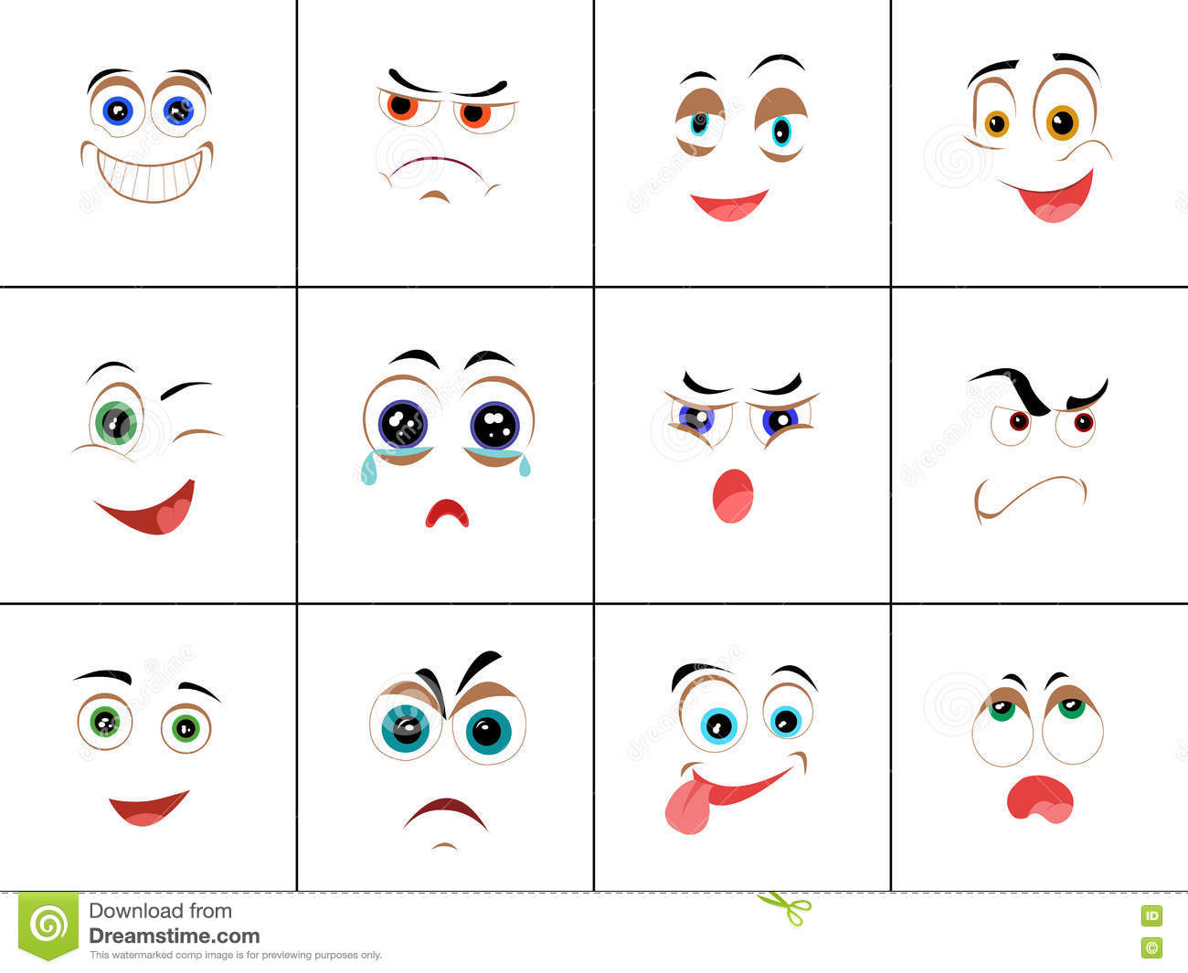 Set of Smileys with Expression of Emotions