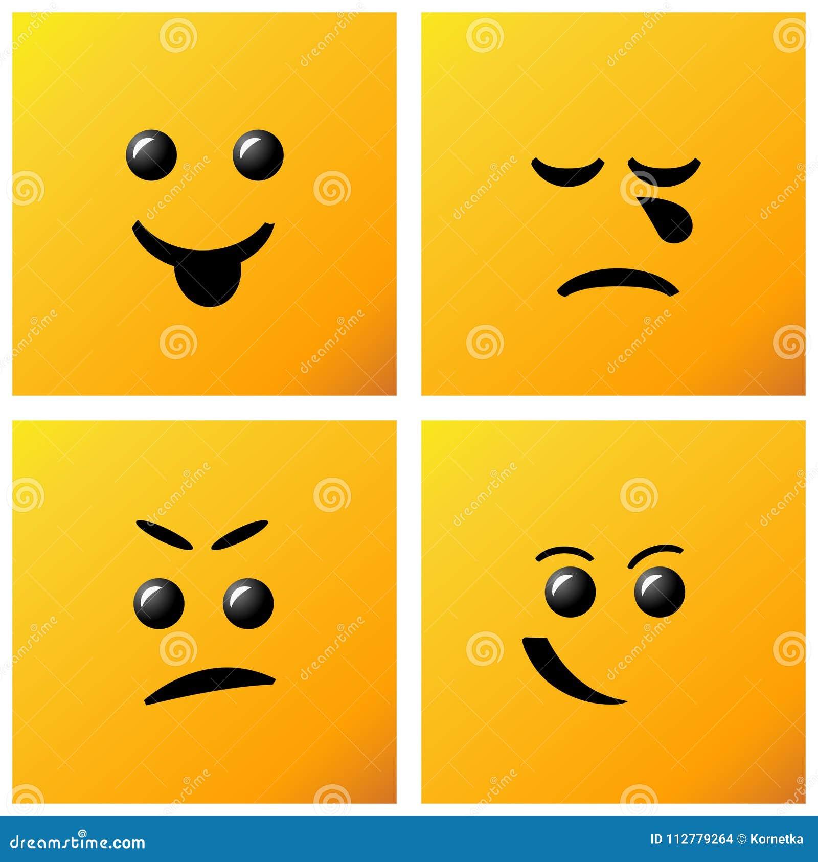 Set Smiling Icon On Yellow Background Creative Cartoon Style Sm