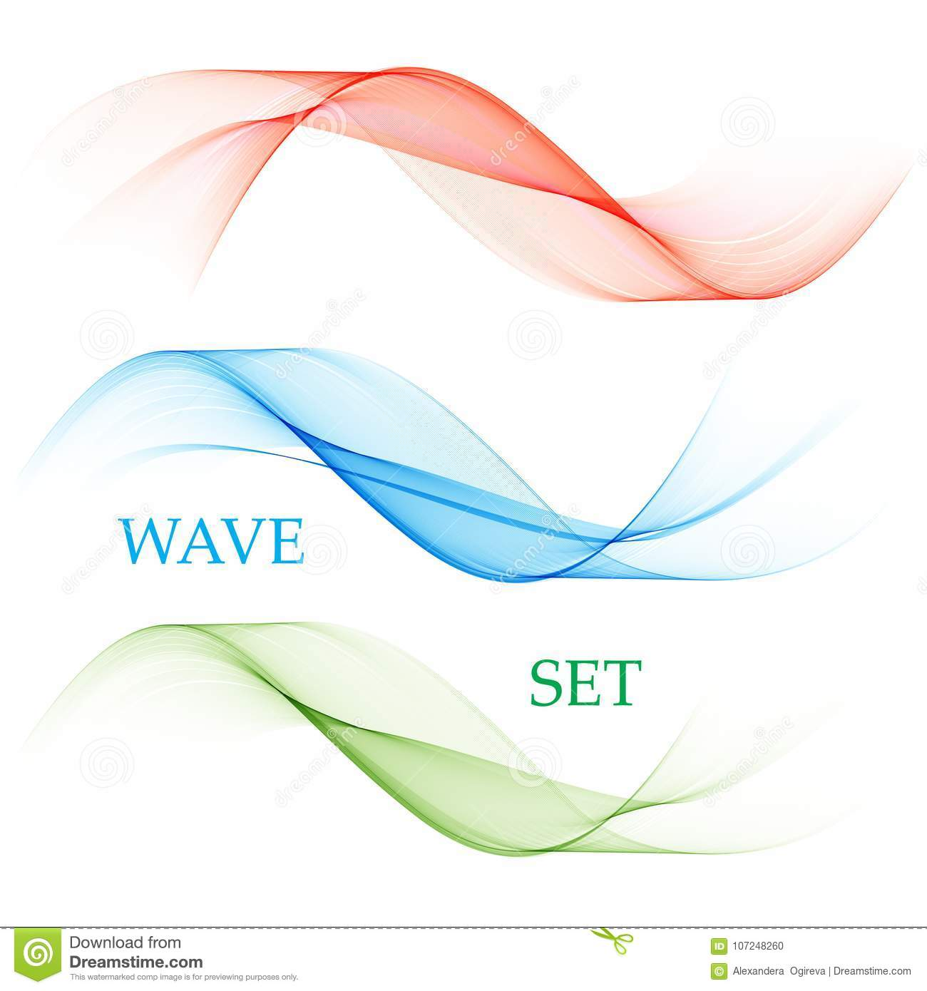The set of smooth vector lines.Abstract waves.Blue,green,red.