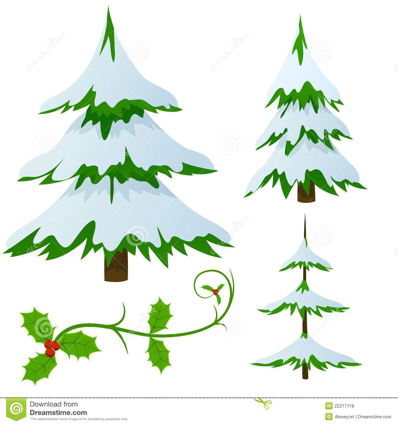 royalty free stock photo download set of snow covered fir christmas trees - Snow Covered Christmas Trees