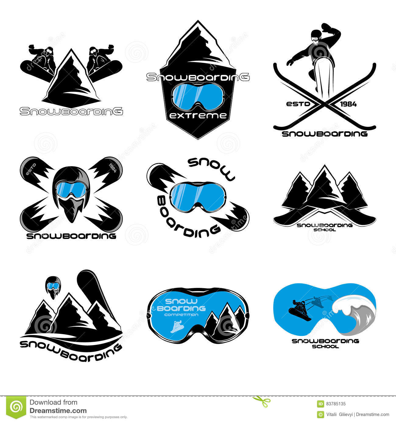 467a663f5f23 Royalty-Free Vector. Set Snowboarding logo design template elements.  Download preview