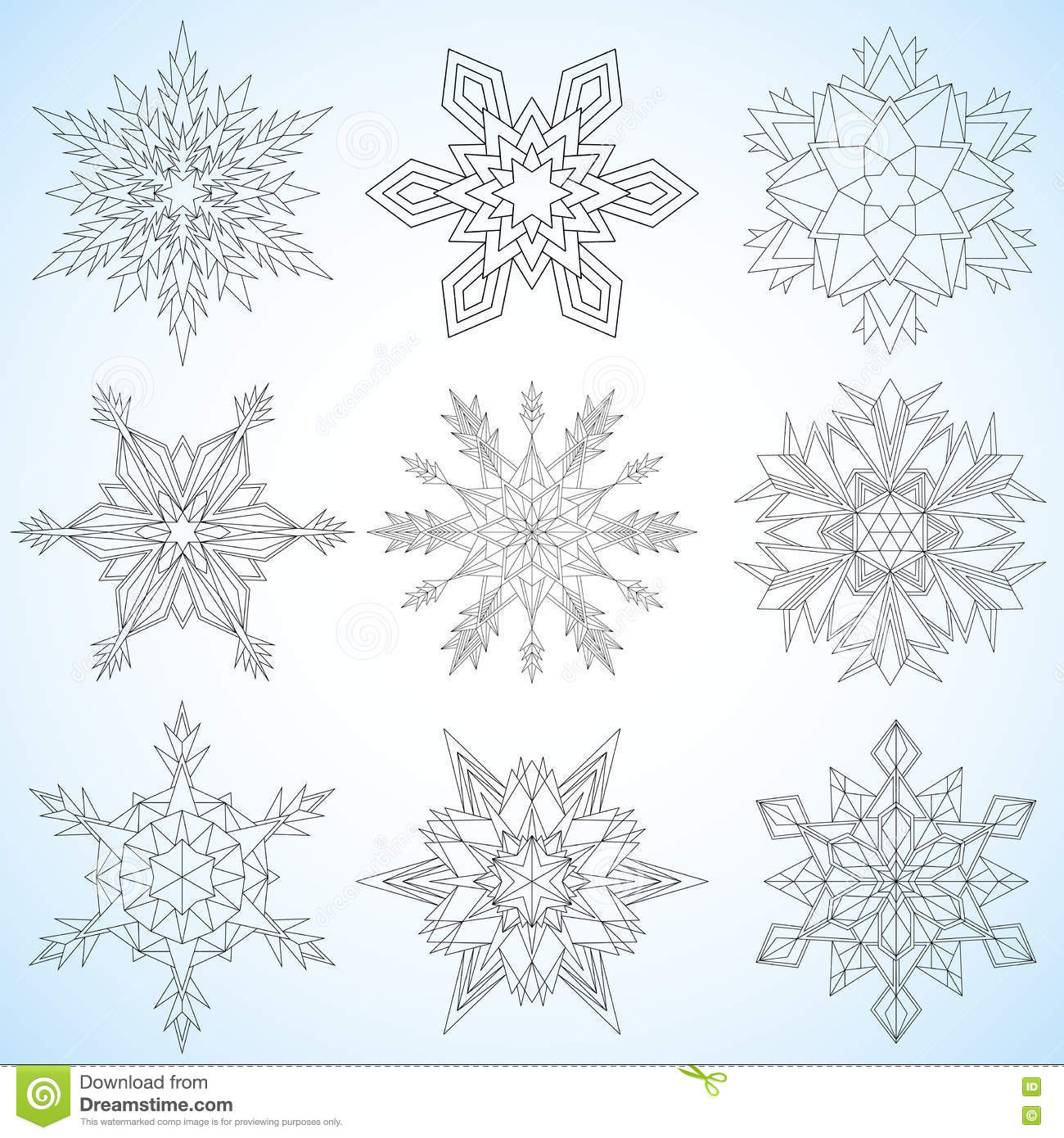 Set Of Snowflakes. Contoured Mandalas. Snowflakes For Adult Coloring ...