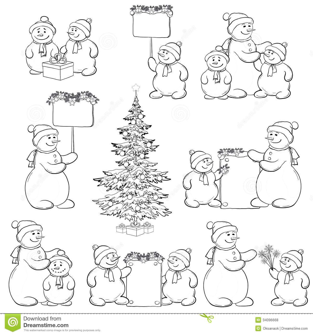 Christmas tree and set cartoon snowman with gifts and a banners for ...