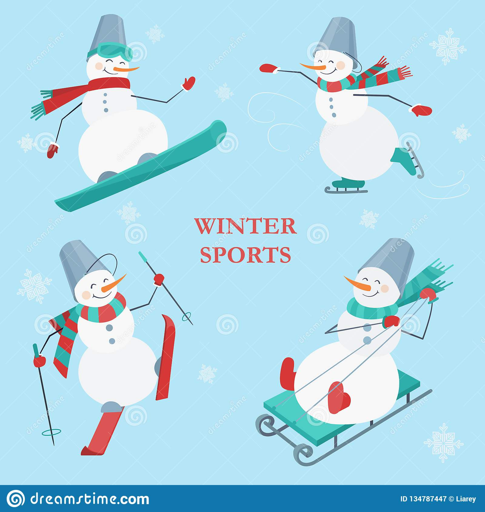 Set of snowmen on a blue background with snowflakes. Winter sports. Snowboarding, skating, skiing and sledging snowman.