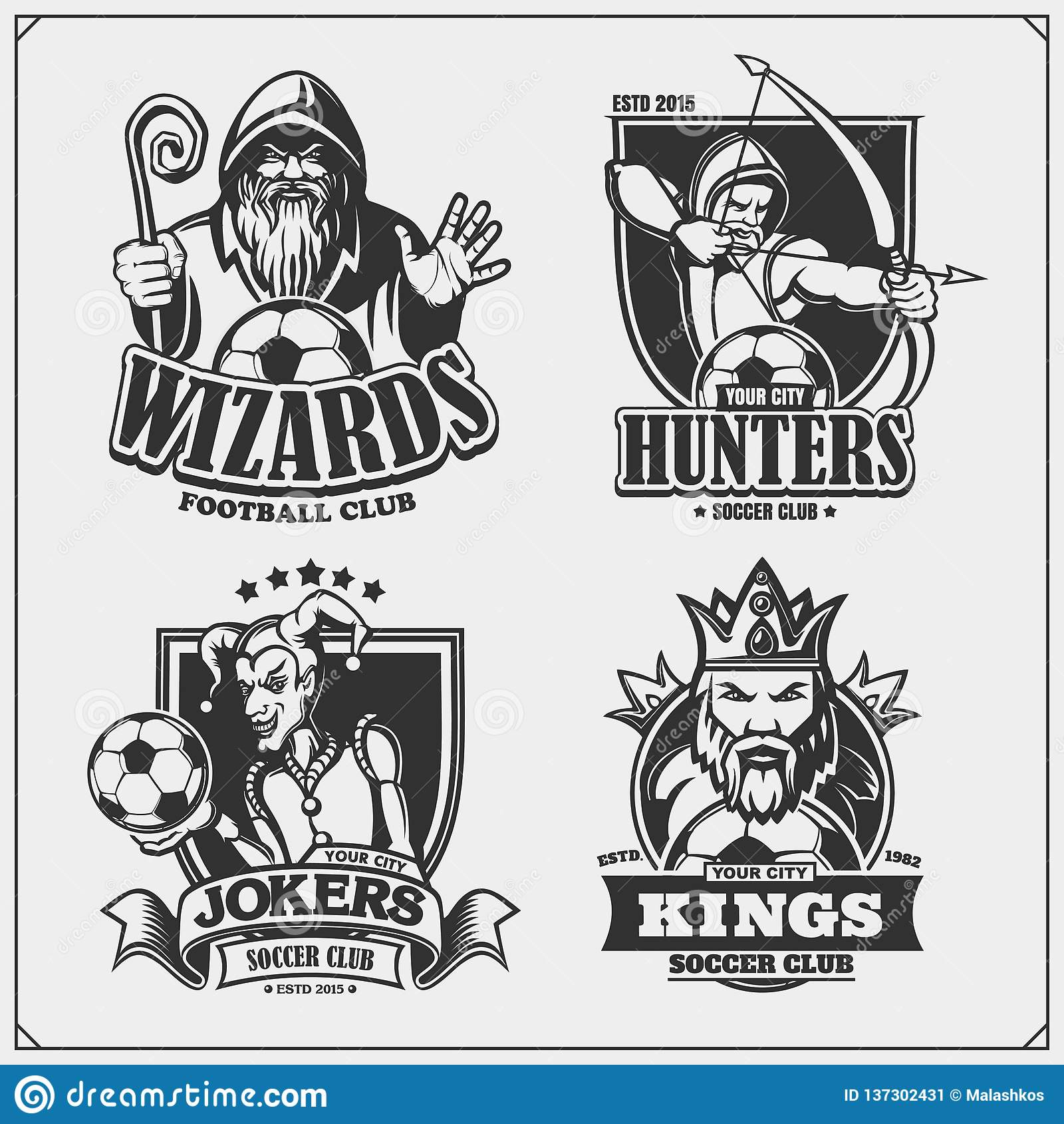 Set of soccer emblems badges logos and labels with hunter wizard king and joker print design for t shirts