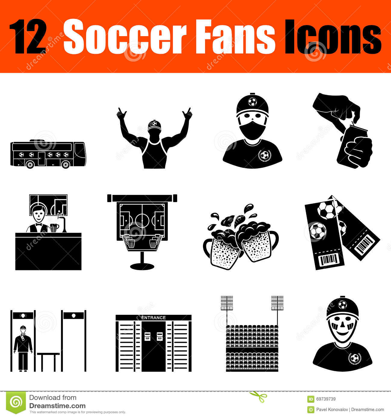 soccer fans ultras icons set royalty