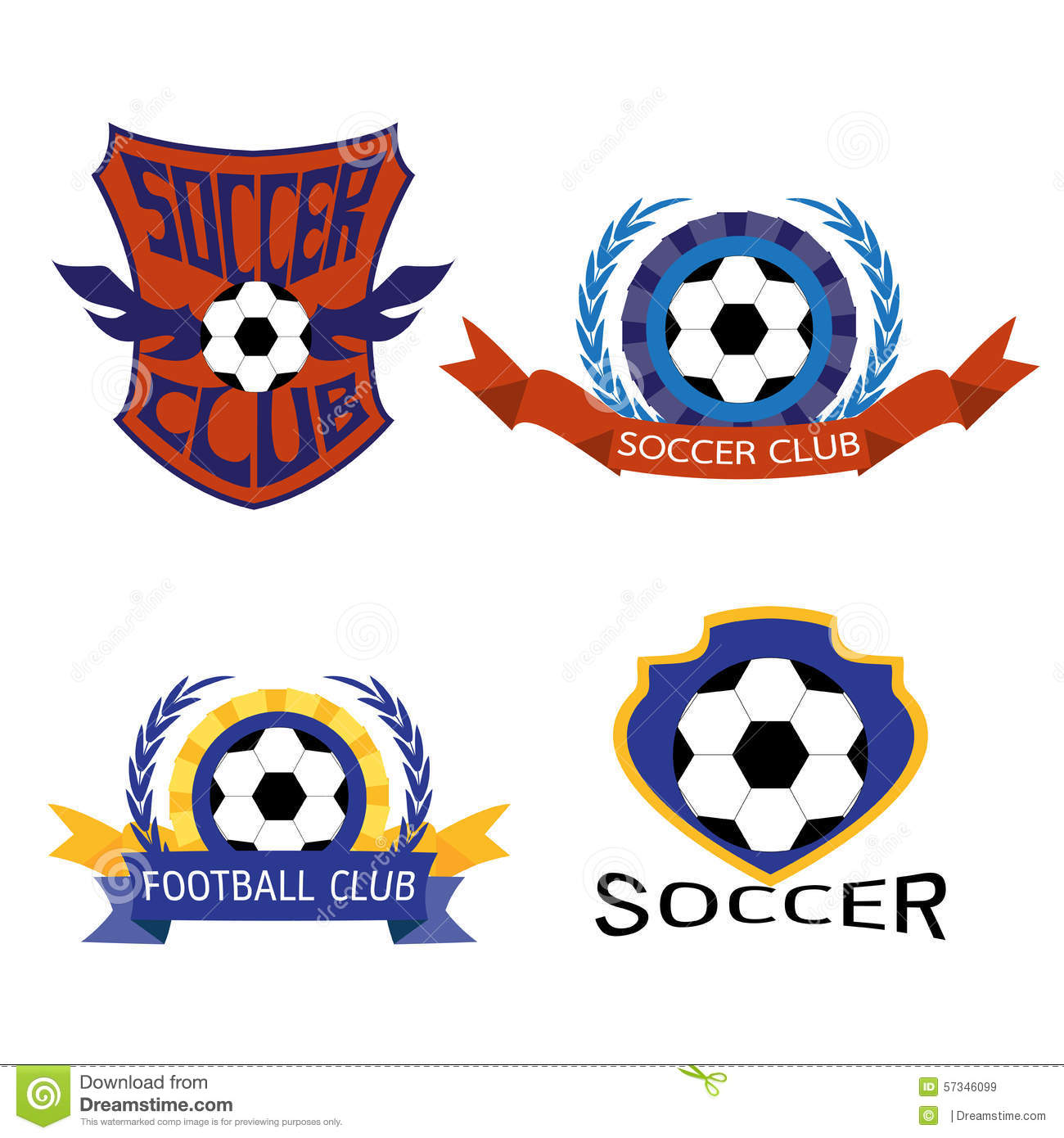 Set Of Soccer Football Badge Logo Design Templates Stock Vector