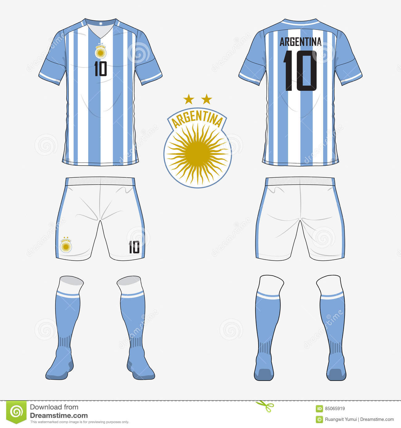 69cdf86f2 Set of soccer jersey or football kit template for Argentina national  football team.