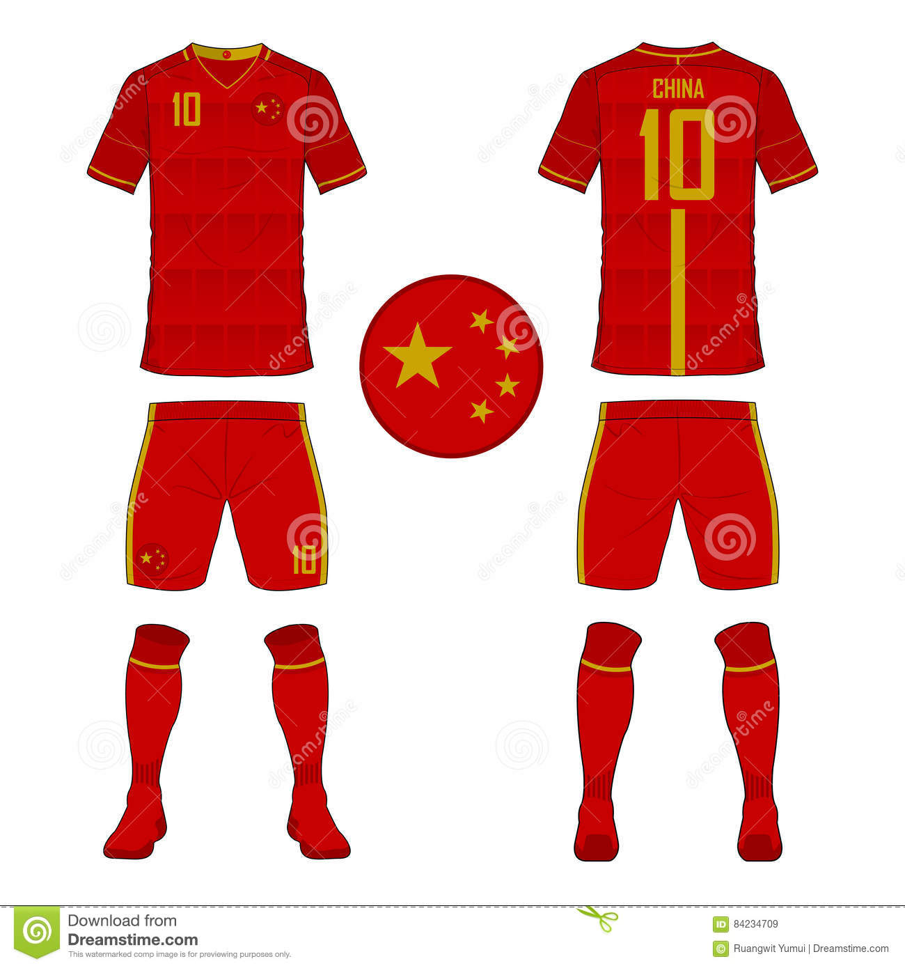 3dd29e4e0e6 Set of soccer jersey or football kit template for China national football  team.