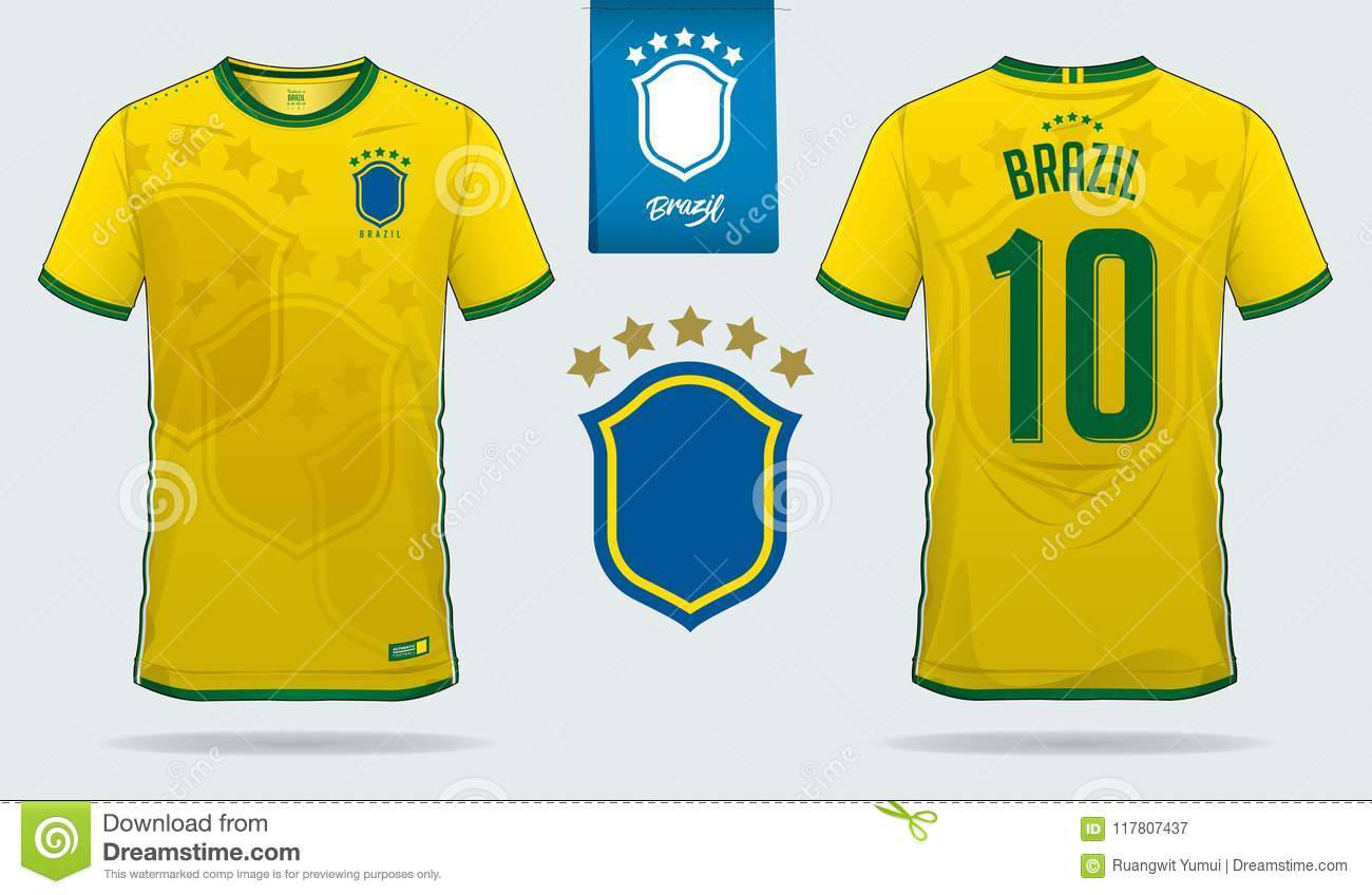 29c5218715e Set of soccer jersey or football kit template design for Brazil national  football team. Front and back view soccer uniform. Royalty-Free Vector