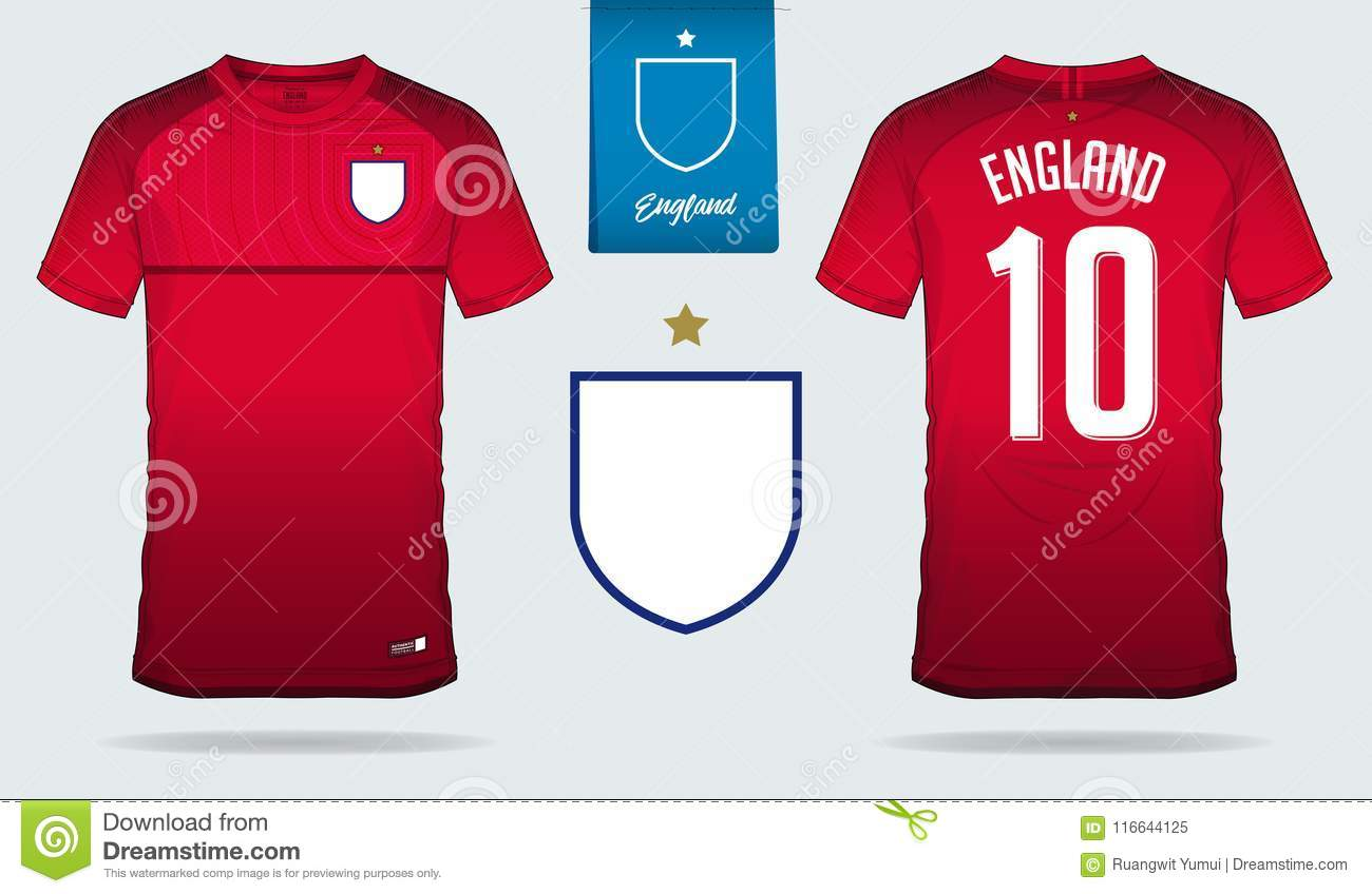 e0d0e9df Set of soccer jersey or football kit template design for England national  football team.