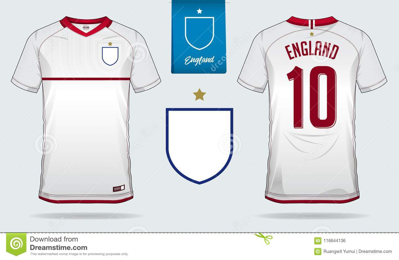 4223f7ec5 Royalty-Free Vector. Set of soccer jersey or football kit template design  for England national football team.