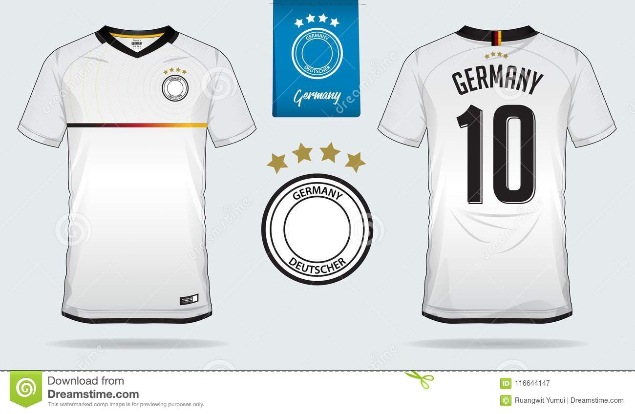 dc6b3b31e Set of soccer jersey or football kit template design for Germany national  football team.