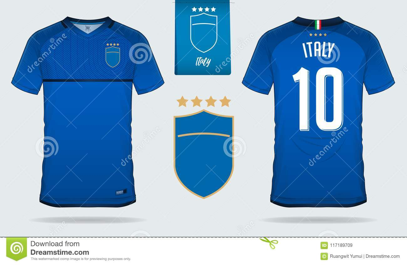 6f8916a91 Set of soccer jersey or football kit template design for Italy national  football team. Front and back view soccer uniform. Football t shirt mock up.