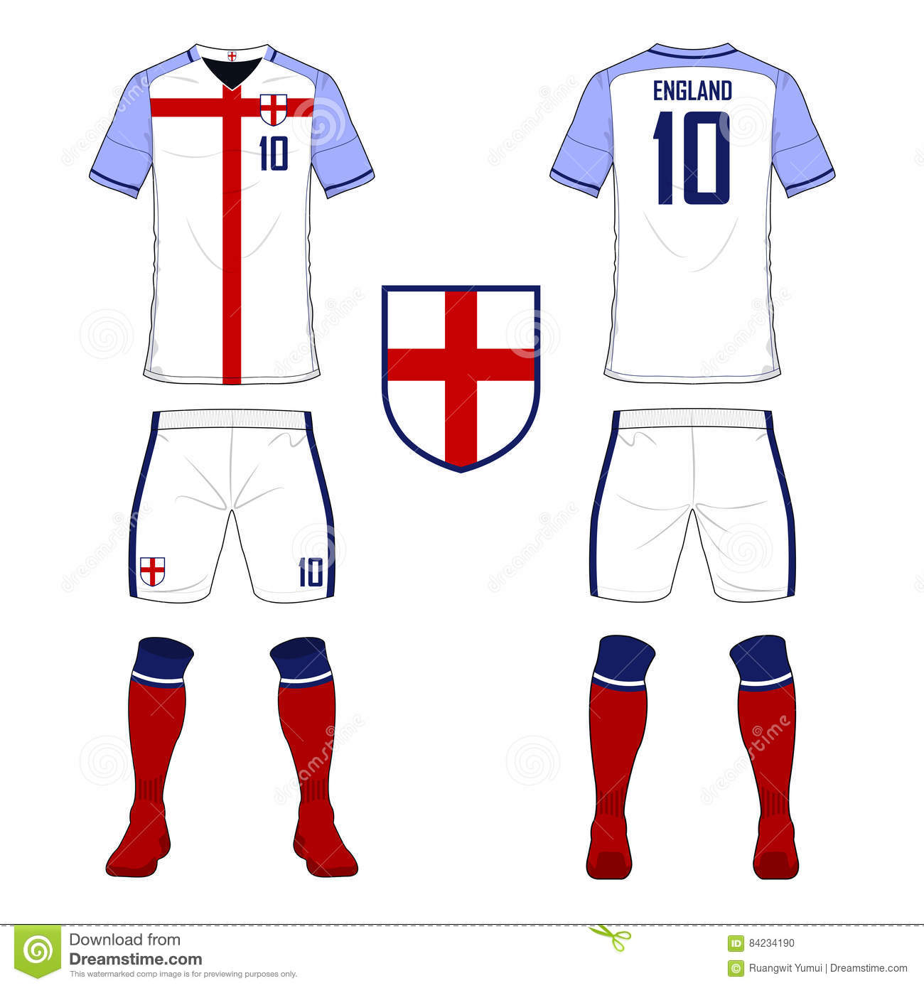 503c4e260 Set of soccer jersey or football kit template for England national football  team. Royalty-Free Vector