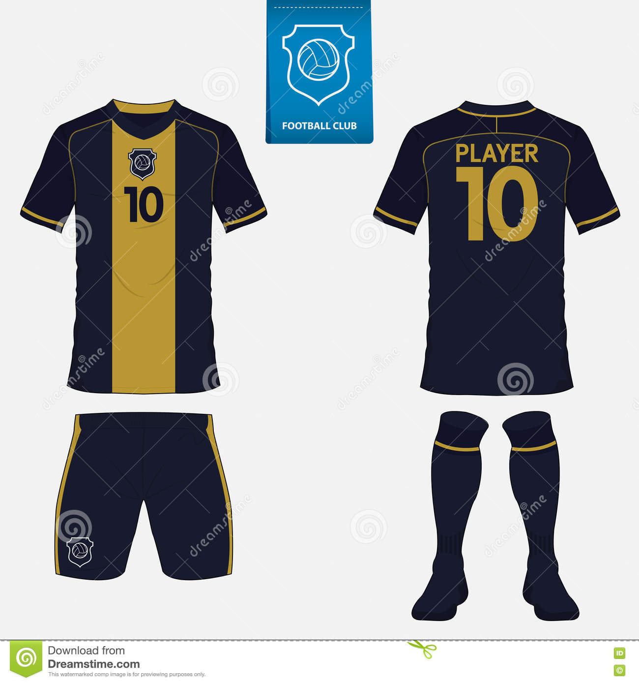 set of soccer jersey or football kit template front and back view