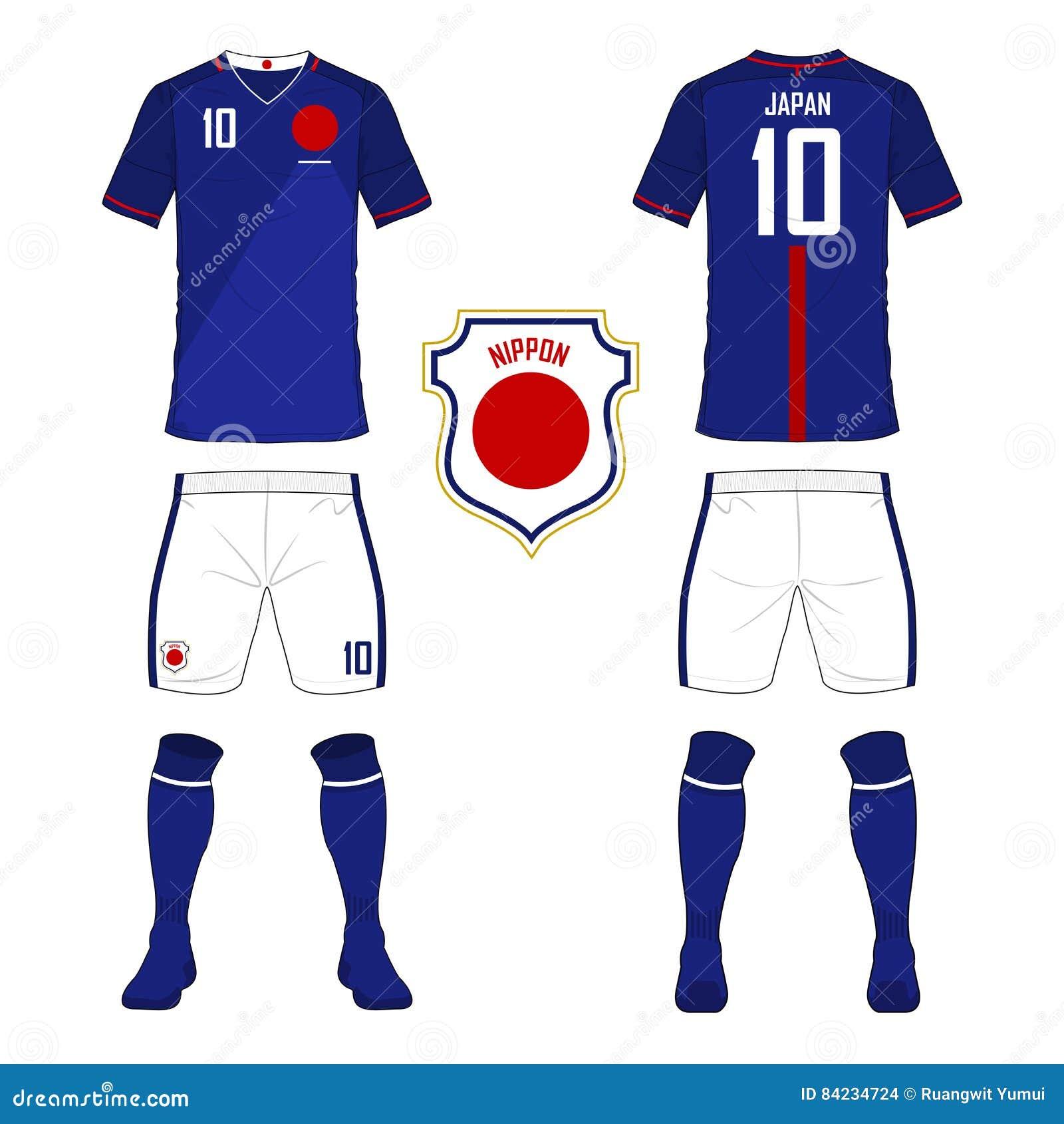 875eafd58 Set of soccer jersey or football kit template for Japan national football  team. stock illustration