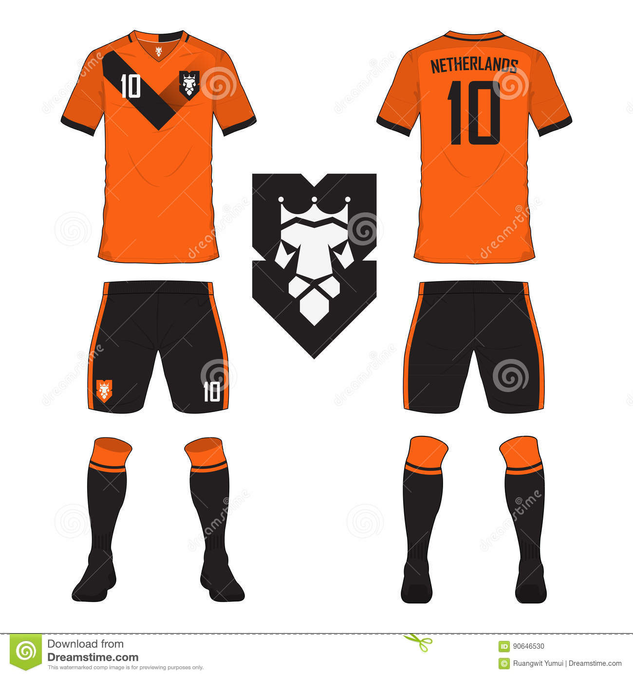 ddaeeae62 Set of soccer jersey or football kit template for Netherlands national football  team. Front and back view soccer uniform. Sport shirt mock up. Vector ...