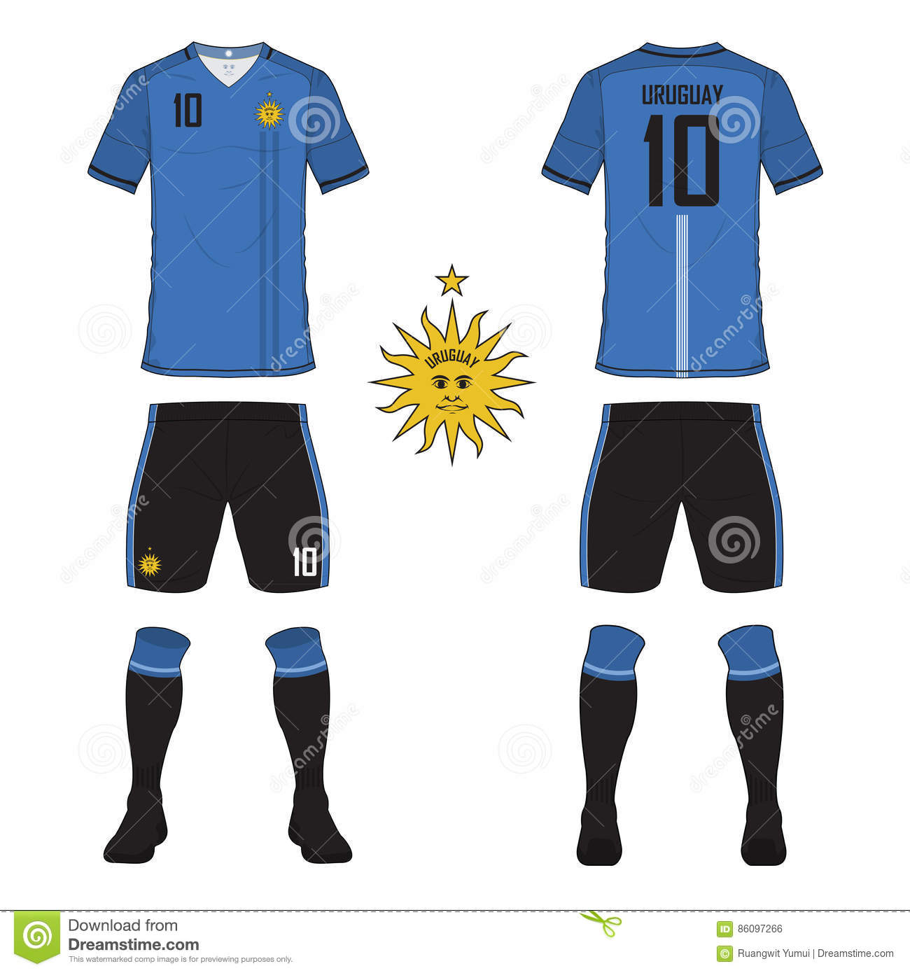 c594a6e989b Set of soccer jersey or football kit template for Uruguay national football  team. Front and