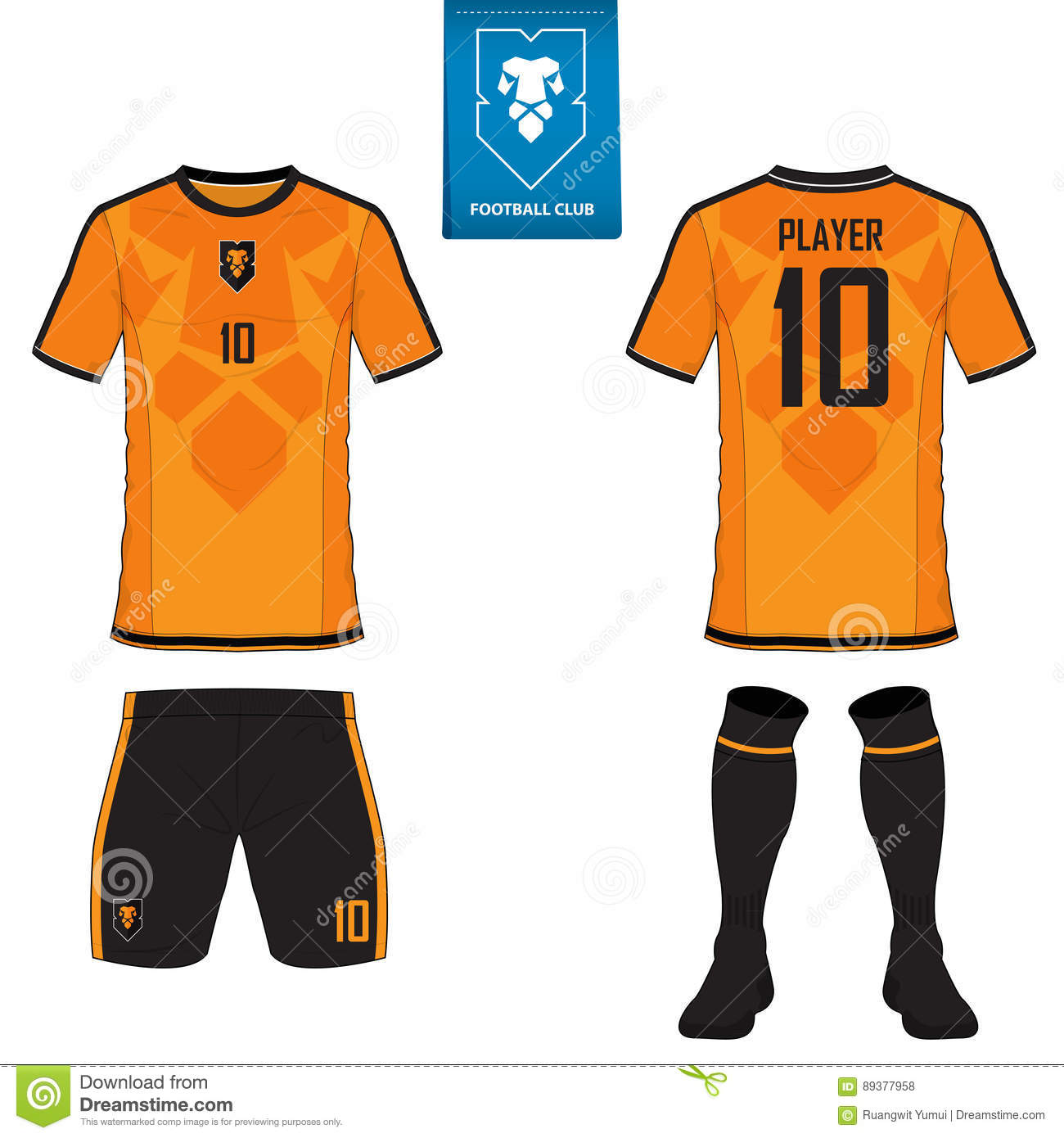 Set of soccer kit or football jersey template. Flat football logo. Front  and back view soccer uniform. Vector. 3a30f6e5e