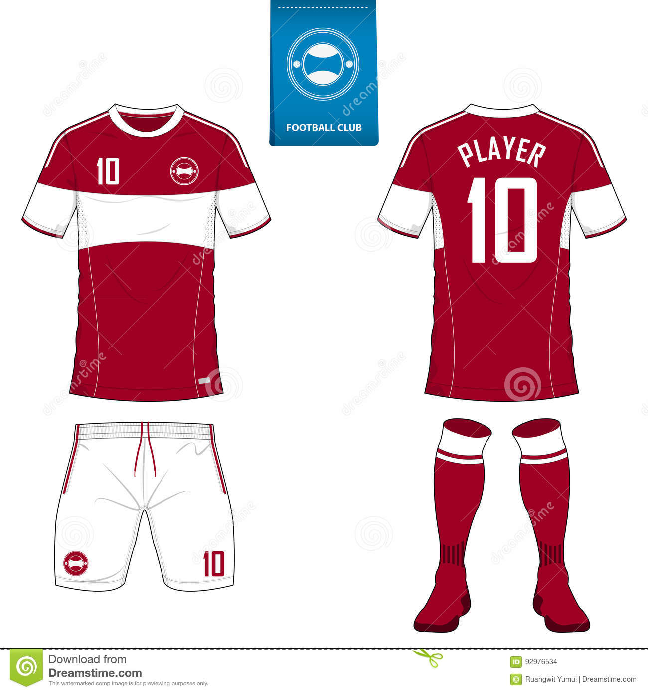 Set Of Soccer Kit Or Football Jersey Template For Club Short Sleeve Shirt Mock Up Front And Back View Uniform