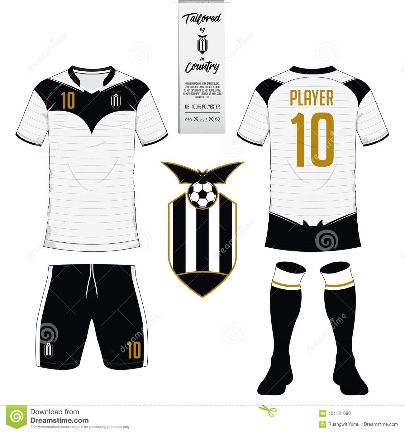 Set Of Soccer Kit Or Football Jersey Template Flat Logo