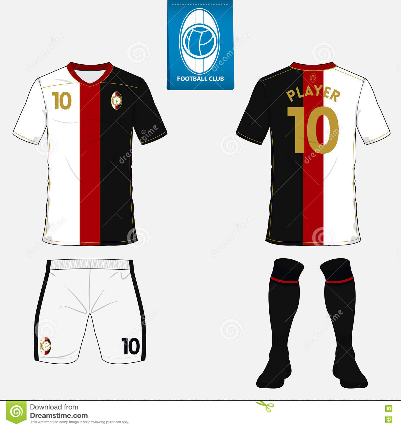 23049d503321 Set of soccer kit or football jersey template. Flat logo on blue label.  Front and back view. Football uniform. Vector Illustration