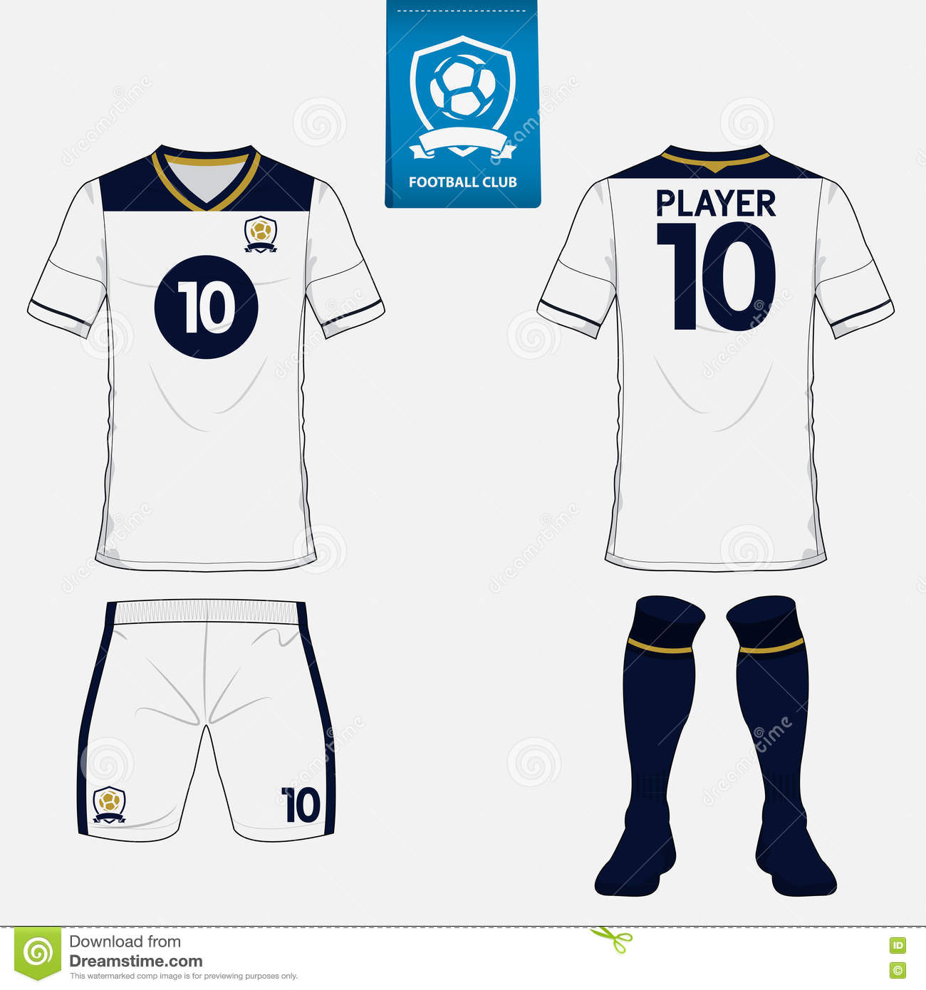 Set of soccer kit or football jersey template for football club. Flat logo  on blue 0224f8b44