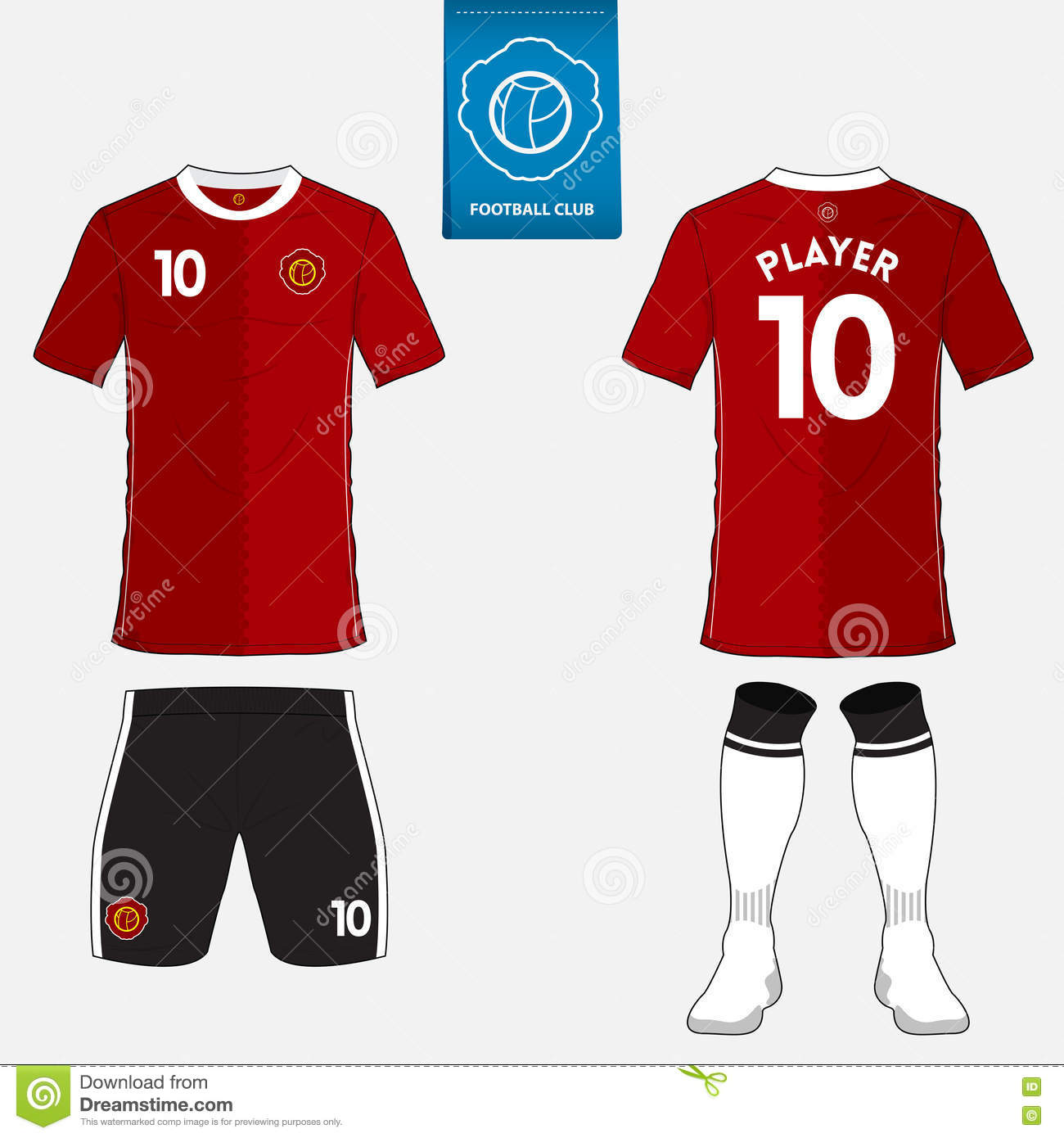 43fe883b2 Set of soccer kit or football jersey template for football club. Flat logo  on blue label. Front and back view. Football uniform. Vector Illustration