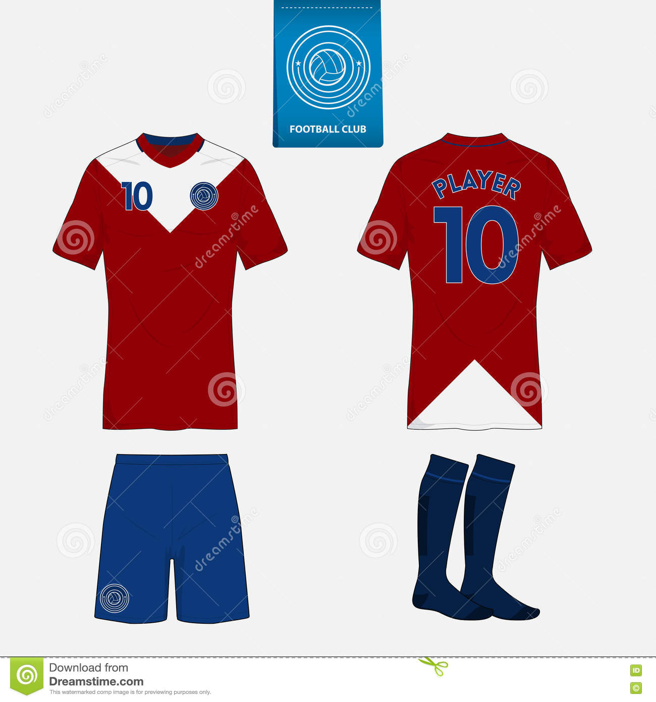 Set of soccer kit or football jersey template for football club. Flat  football logo on blue label. Front and back view. Football uniform. e217102e4