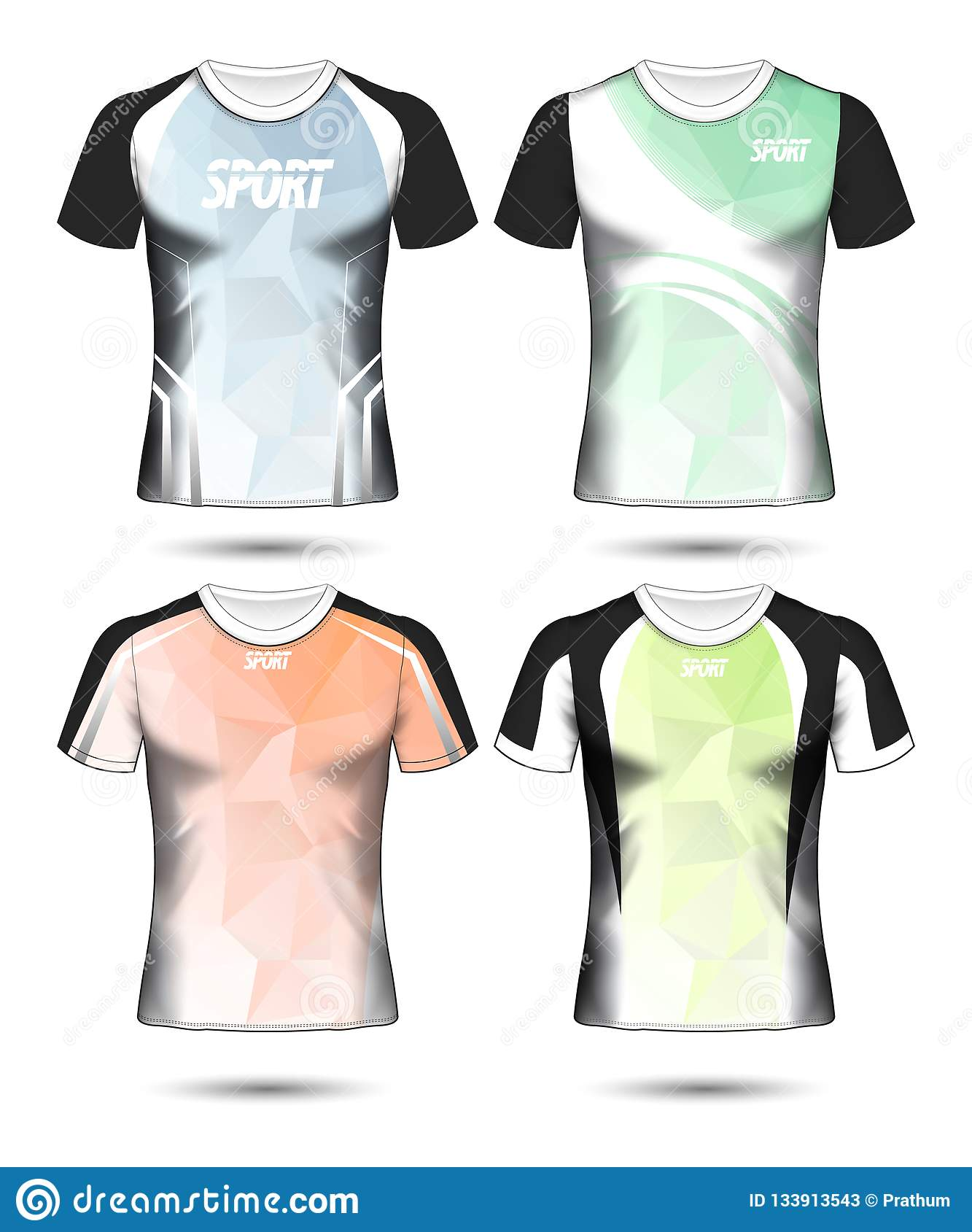 be76391fd Set Of Soccer Sport T-shirt Layout Design Poly Template And Polo ...