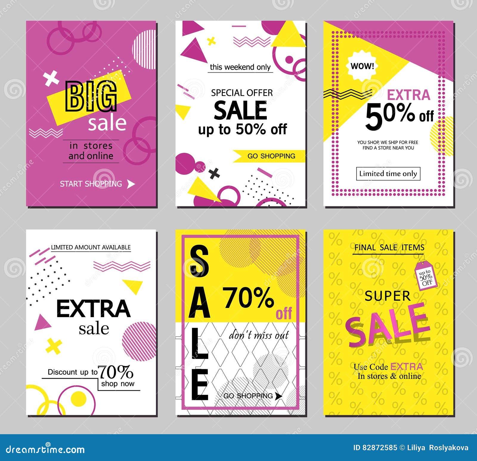 Set Of Social Media Sale Website And Mobile Banner Templates ...