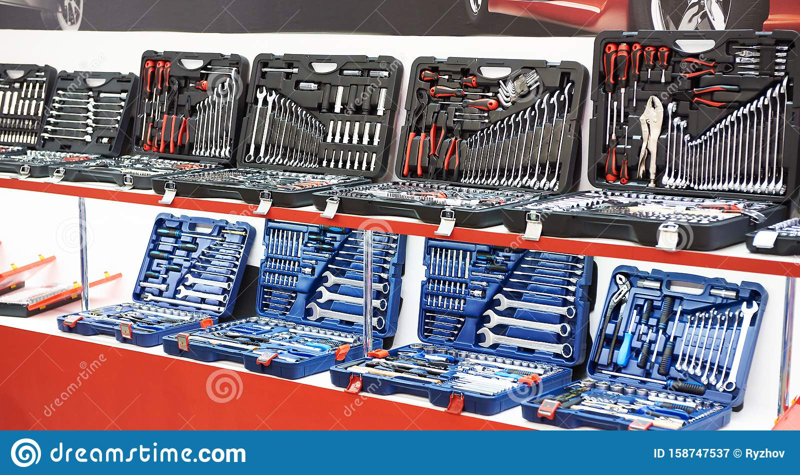 Set Socket Wrenches In Box At Store Stock Image - Image of ...
