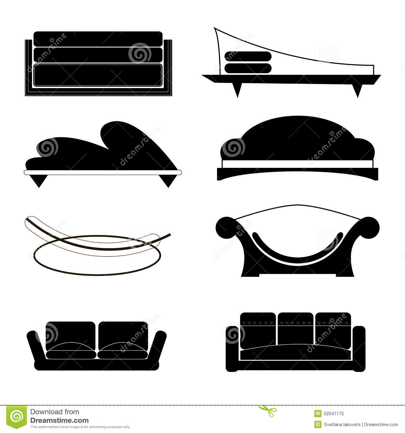 Set of sofas of different shapes stock vector image for Mobili stilizzati