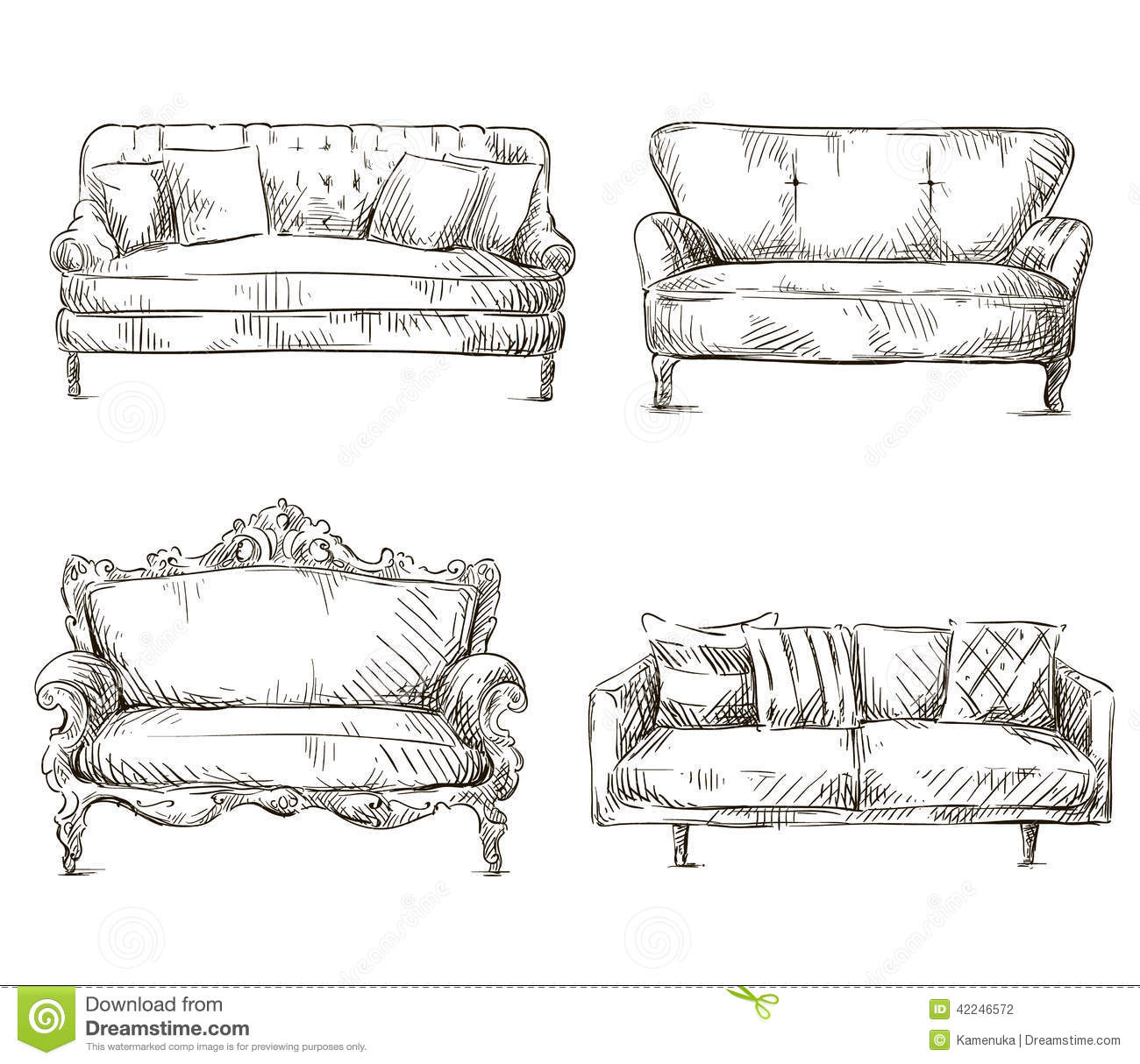 Set Of Sofas Drawings Sketch Style, Vector Illustration ...