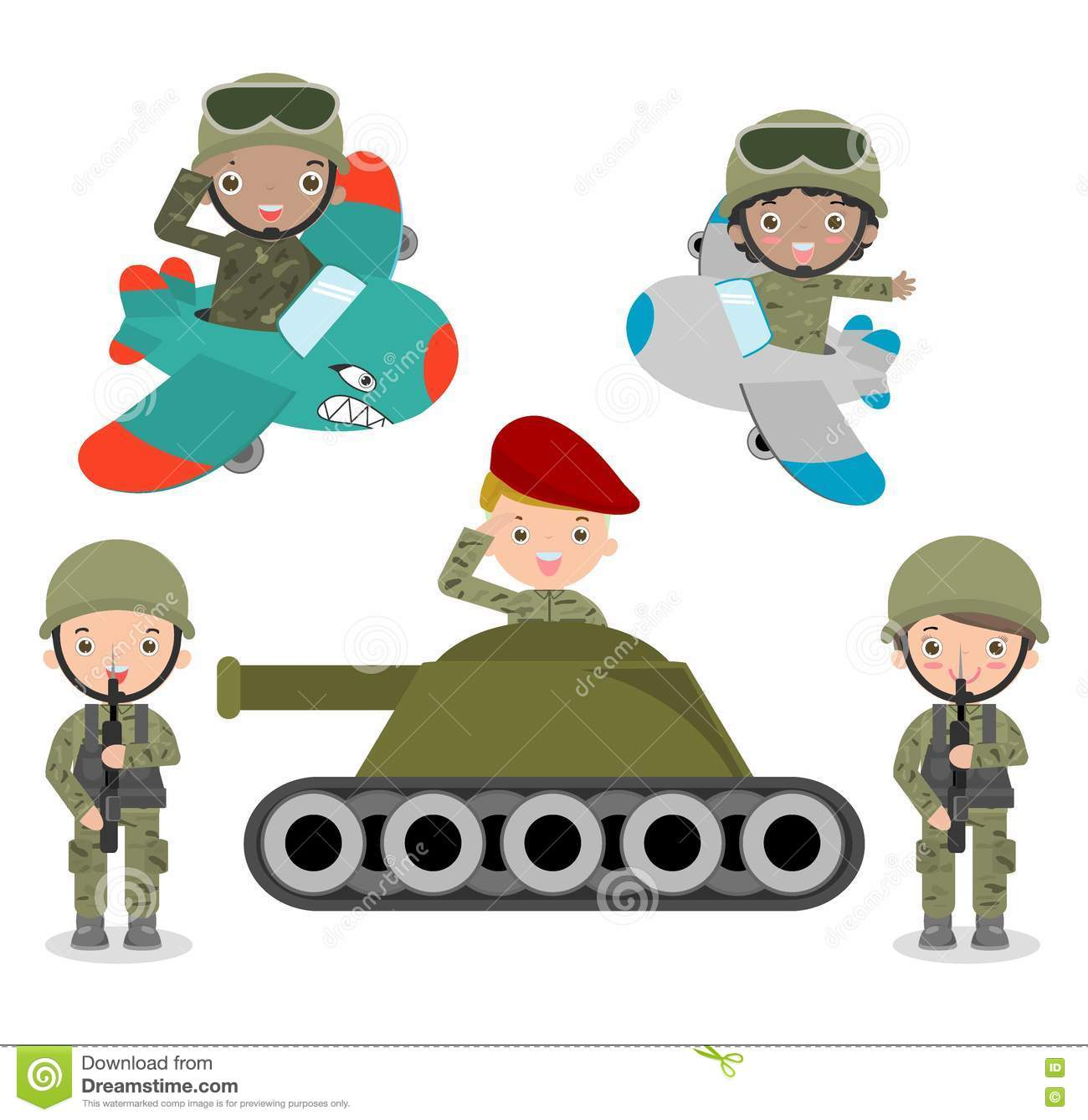 Set of soldiers, cartoon Soldier set, kids wearing soldiers costumes