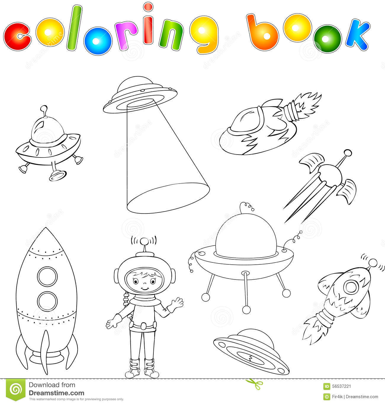 Set of spacecraft spaceship and aerospace vehicle flying for Flying saucer coloring page