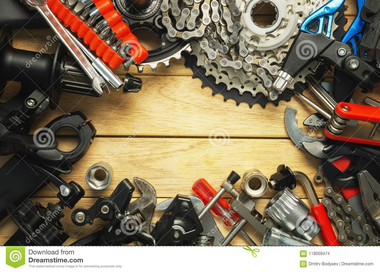 A Set Of Spare Parts And Tools For A Bicycle Upgrade Stock Photo