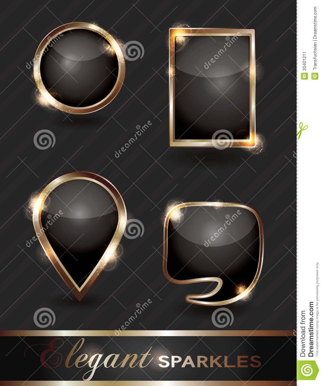 Set of sparkling web buttons