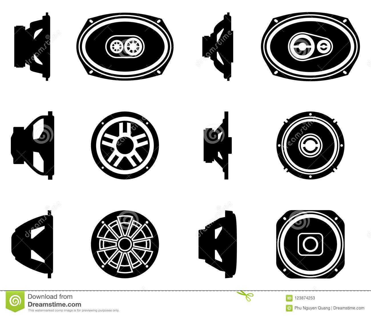 Set Of Speaker Driver Icons  Car Audio  Silhouette Vector