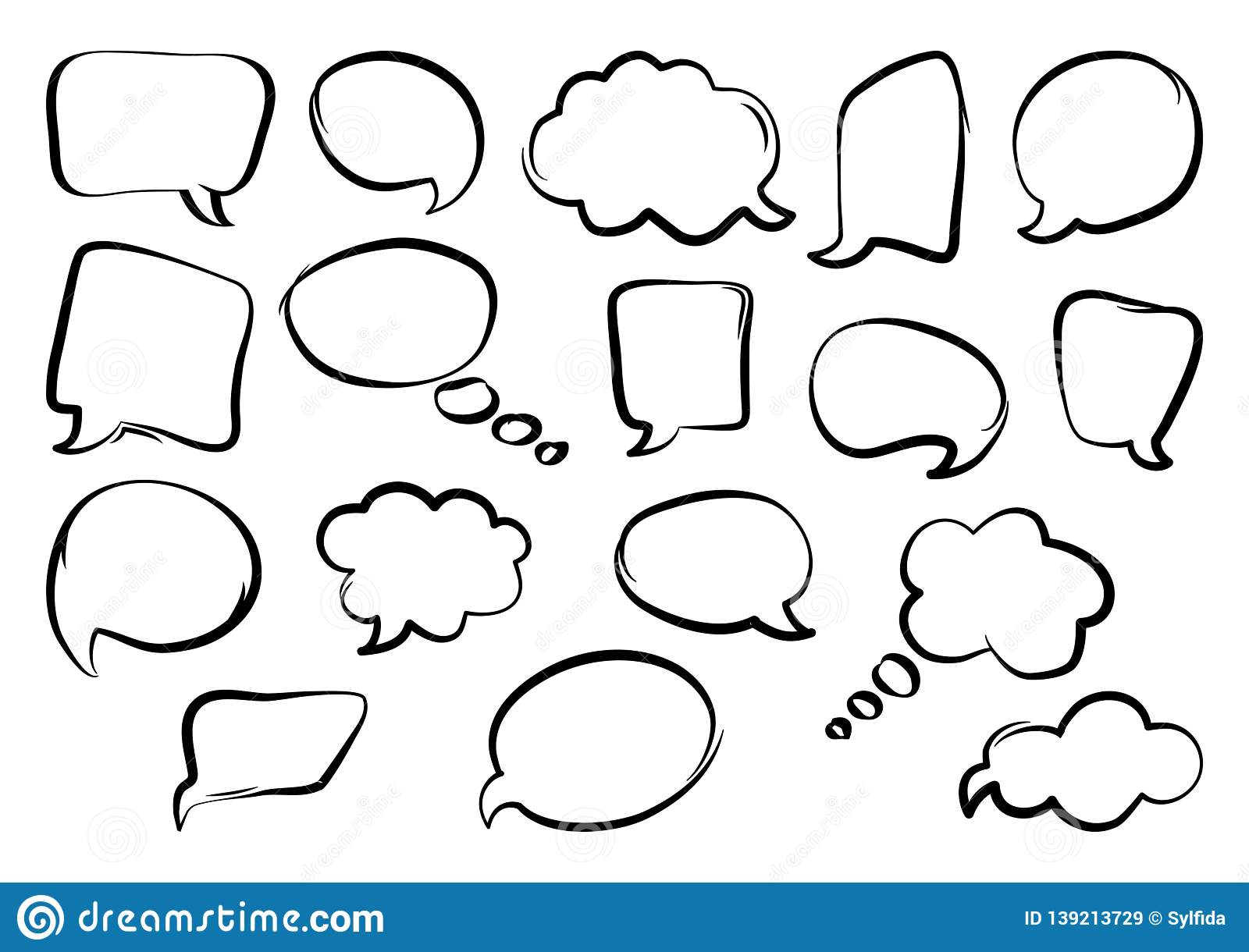 Set of speech bubbles, hand drawn. Vector illustration