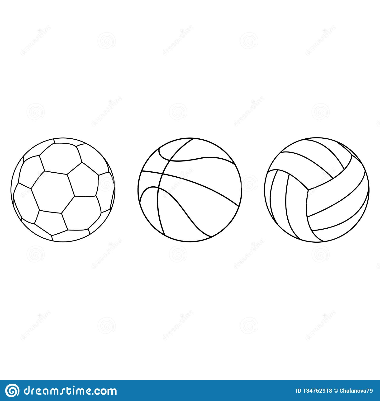 Set of sport ball vector collection isoated on white background. Vector illustration