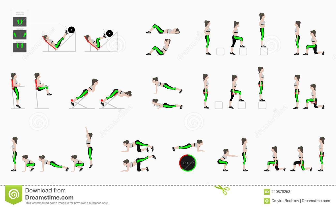 Set Of Sport Exercises  Exercises With Free Weight