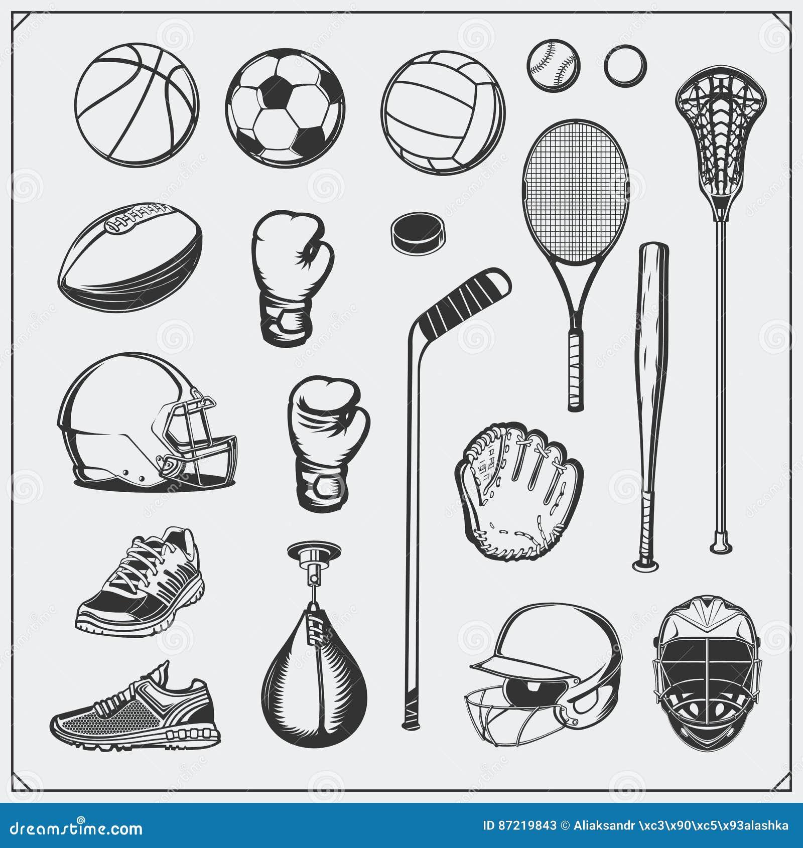 Set sporta wyposażenie Piłka nożna, futbol, lacrosse, koszykówka, baseball, hokej i tenis,