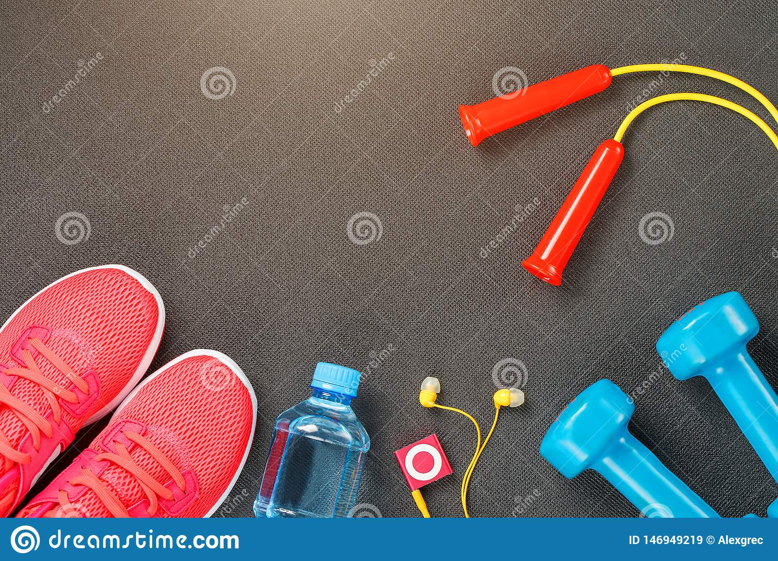 Set Of Sports Accessories For Fitness Concept With Exercise Equipment On Gray Background Stock ...