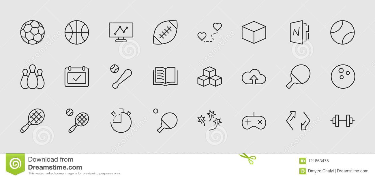 Set of sports balls, hobbies, entertainment vector line icons. It contains symbols of football, basketball, bowling