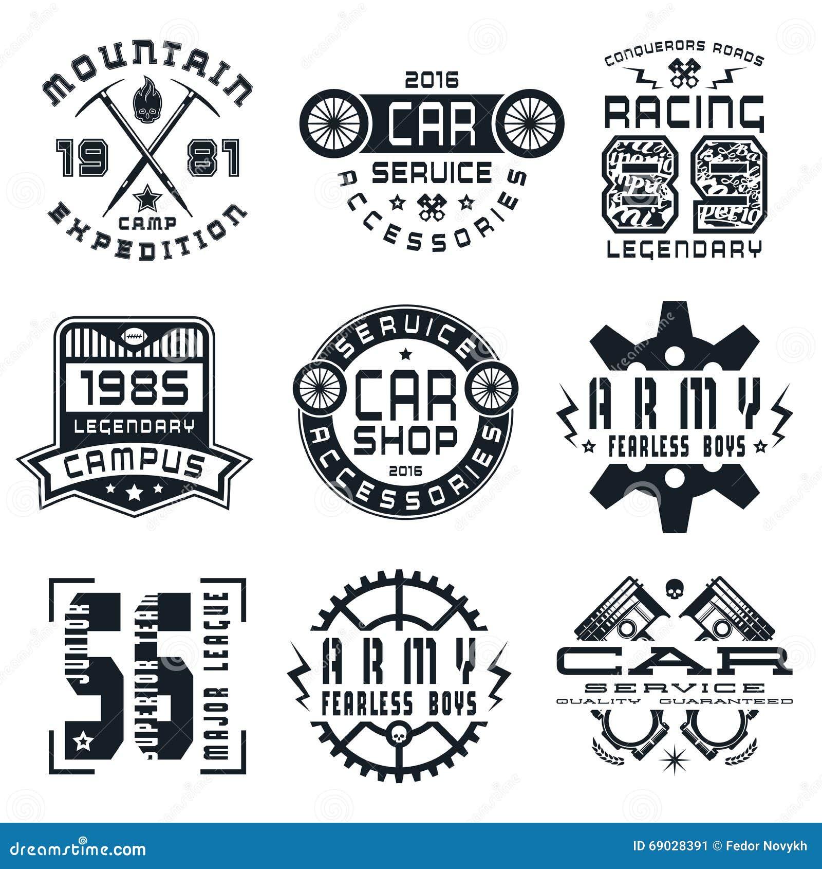 Design car emblem - Set Of Sports Car Service And Military Emblems